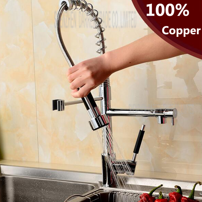 1 pc Chrome Finish Dual Spout Kitchen Sink Faucet Deck Mount Spring Kitchen Mixer Tap Kitchen Hot and Cold Water tap