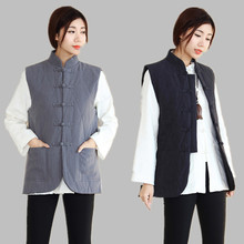 Осеннее и зимнее платье, Новое поступление, лен, утепленный жилет для женщин, сохраняющий тепло, жилеты в ретро китайском стиле D380