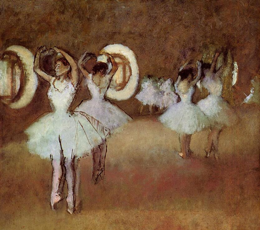 High quality Oil painting Canvas Reproductions Dance Rehearsal in the Studio of the Opera (1895)  By Edgar Degas hand paintedHigh quality Oil painting Canvas Reproductions Dance Rehearsal in the Studio of the Opera (1895)  By Edgar Degas hand painted