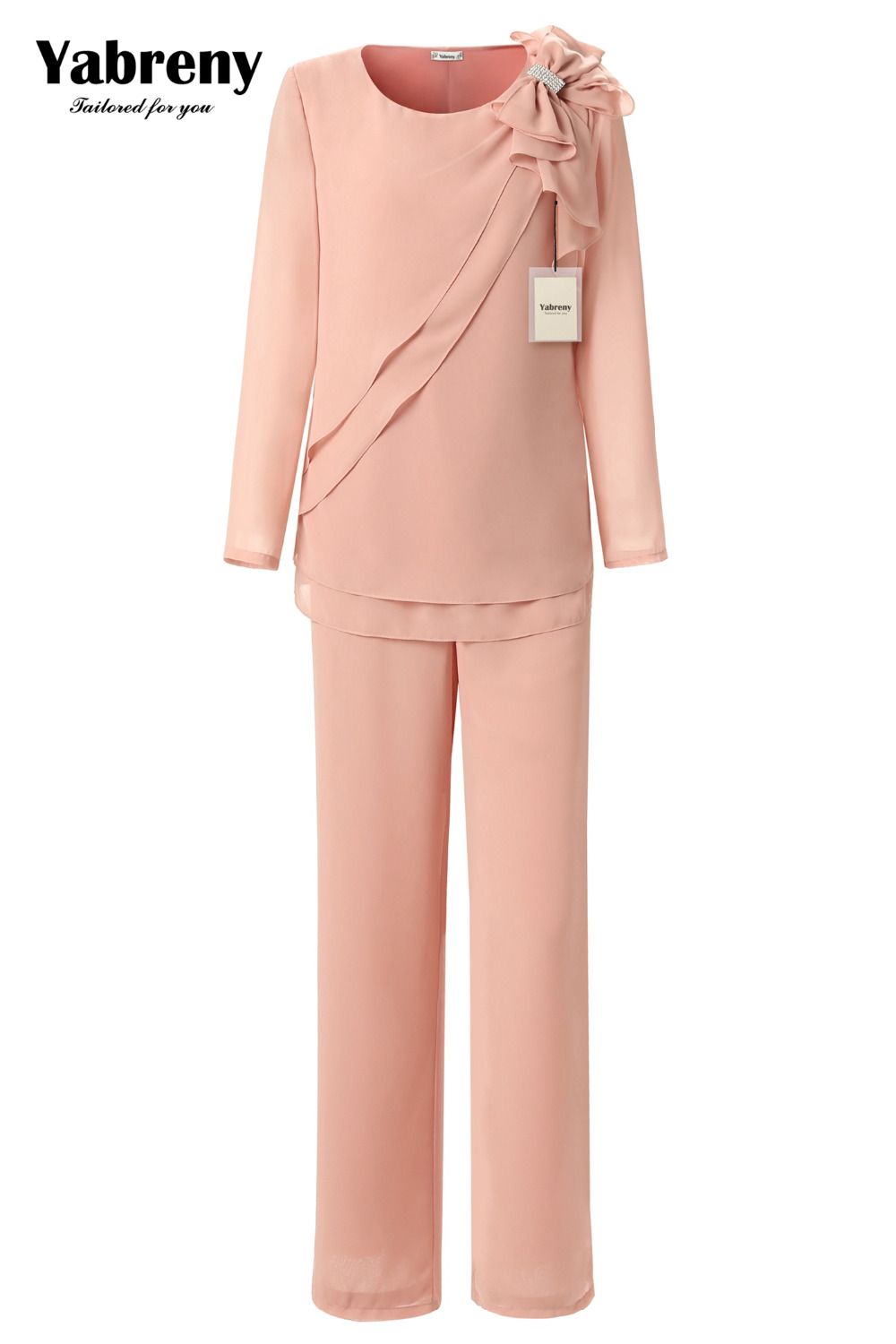 Yabreny Pearl Pink Mother Of  Bride Chiffon Pantsuit Shoulder With Bowknot MT0017015