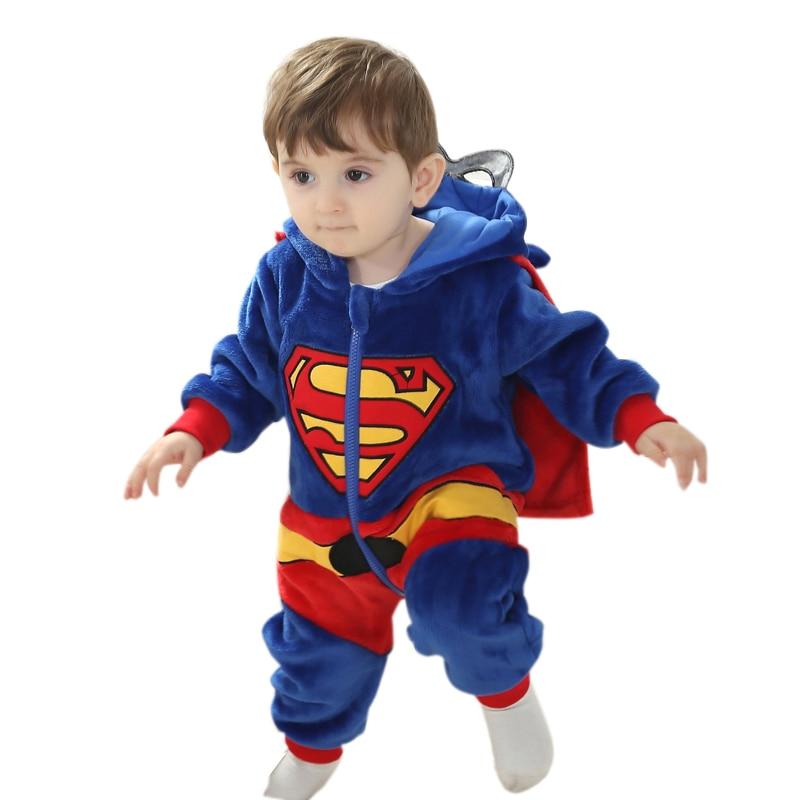 Baby Romper Captain America Superman Costume Long Sleeve Boys Girls Clothes Warm Velvet Jumpsuit Boys Outwear Clothes 3-24M цена и фото