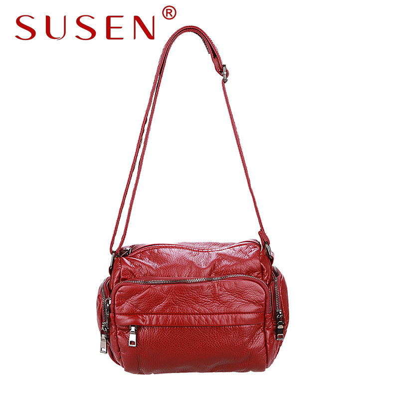 SUSEN 176 Women shoulder bag hobos bag soft pu font b leather b font zipper closure