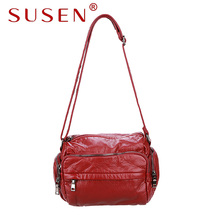 SUSEN 176 Women shoulder bag hobos bag soft pu leather zipper closure adjustable strap bag for lady casual bag