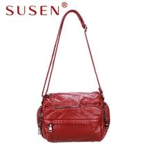 SUSEN 176 Women shoulder bag hobos bag soft pu leather zipper closure adjustable strap bag for lady casual bag