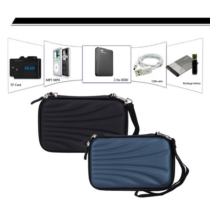 flowcross Portable Shell Pattern Hard EVA PU Carrying Case Bag External Hard Drive Protect Case Bag For 2.5 inch Portable External HDD