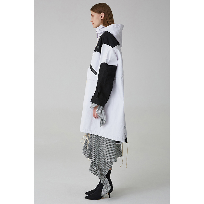 Blanc Oversize Et Nouvelle Arrivée Safari Capuche Noir Manteau Long 2018 Tranchée Femmes Avec Patchwork RFnIqa
