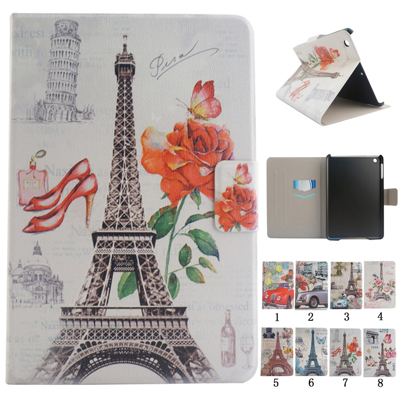 Painting Paris tower PU Leather Stand Case For Apple iPad mini Case For iPad mini 1 2 3 7.9 inch Tablet Cover Capa Fundas vintage wood grain style case for apple ipad mini 2 3 pu leather flip stand cover interchangeable for ipad mini 1 2 3 7 9 case