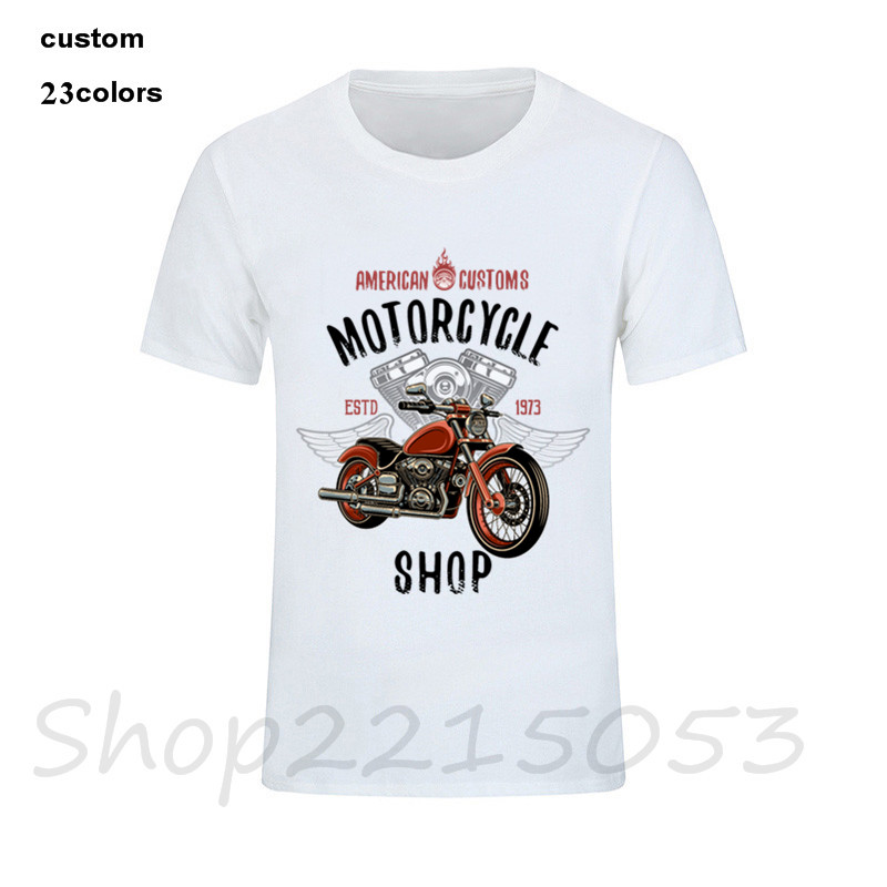 USA Super T-shirt American Customs Motorcycle 1987 T shirt Men Biker Indian  Victory Motorbike casual father gift oversize tshirt