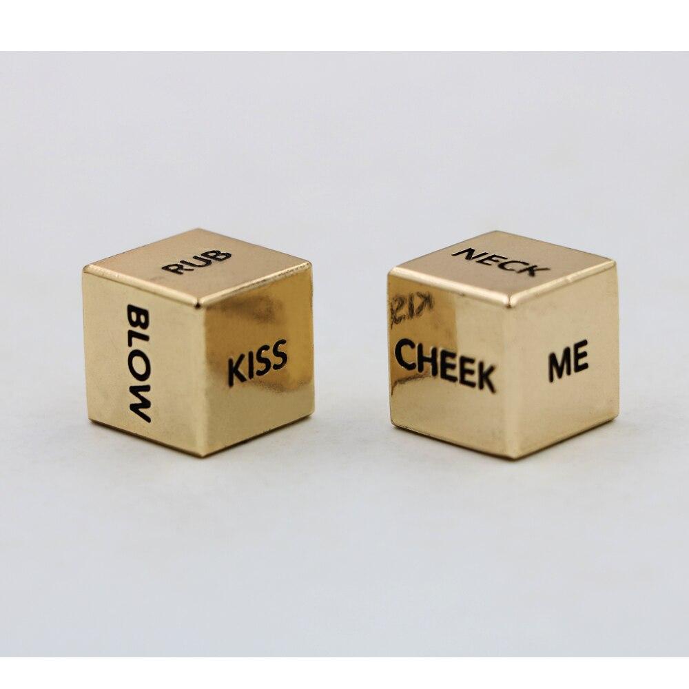 A Pair English Sexy Metal Gold Dice Action Dice Couple Lover Dice башня для бросания кубиков dice tower тотем орков