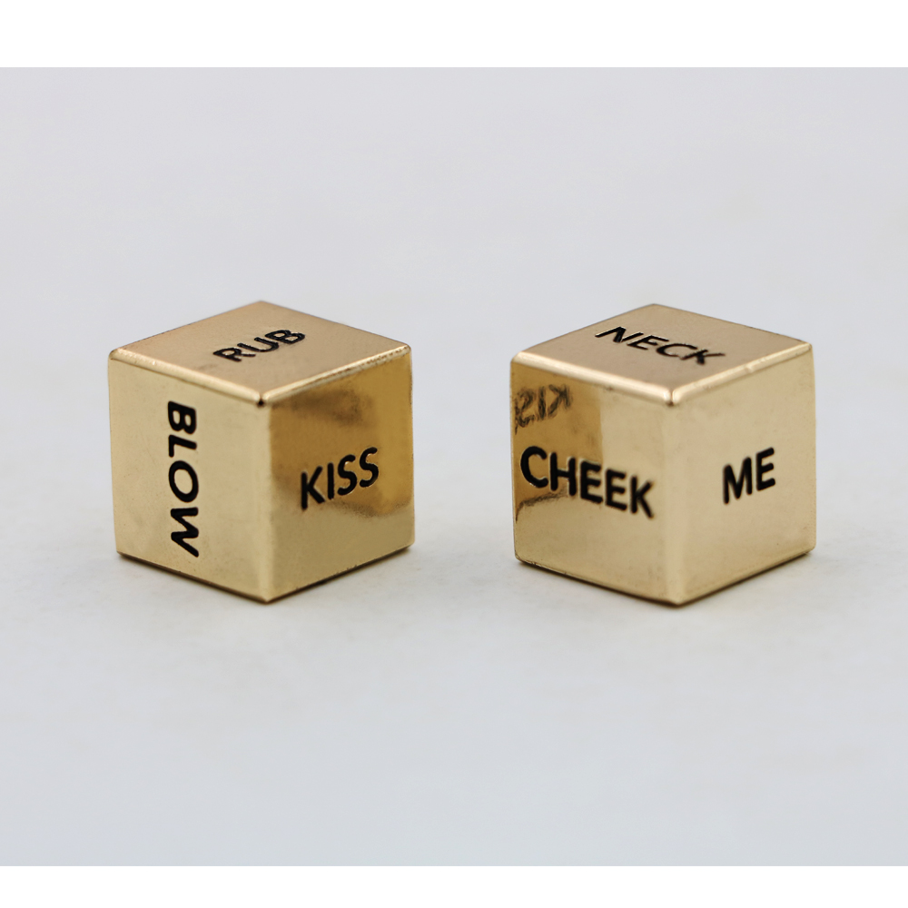 A Pair English Sexy Metal Gold Dice Action Dice Couple Lover Dice
