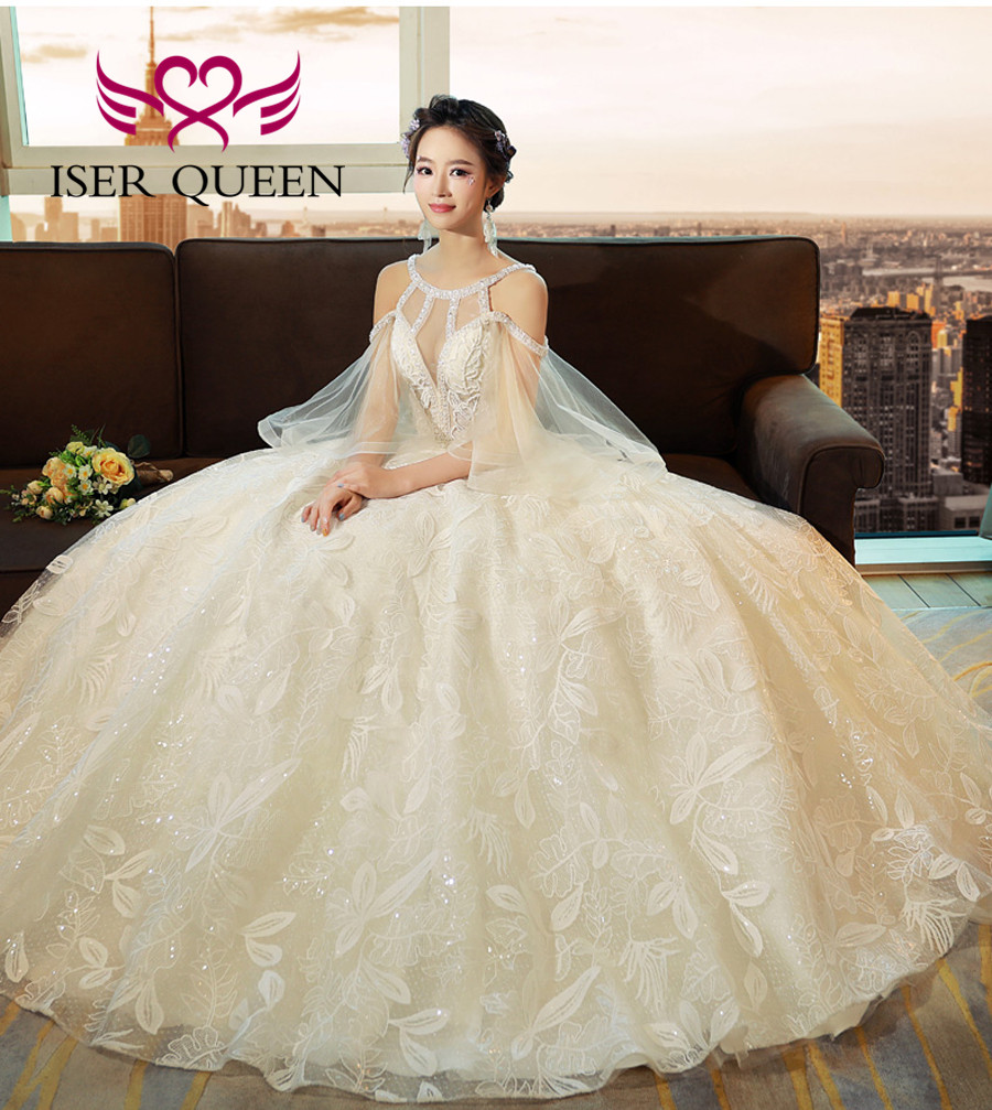Wedding Gowns In Color: Pearls Beading Neckline Flare Cap Sleeve Europe Style