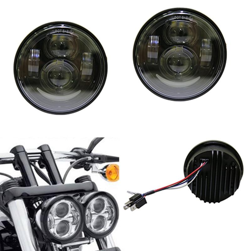 New Design Projector Headlights Harley Glide Dyna 4.5'' inch Harley led head light Daymaker Headlamp for Fat Bob Headlight