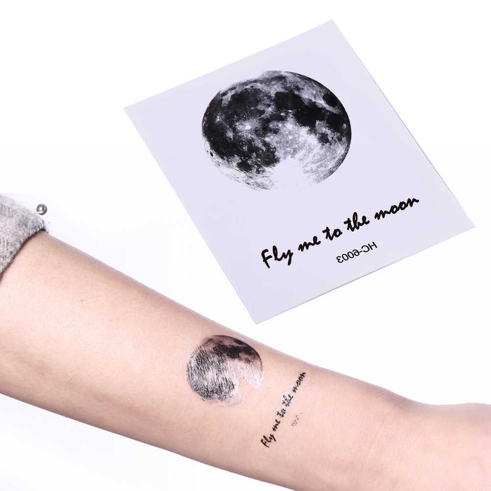 1 Sheet Tattoo Sticker Waterproof Temporary Fake Tattoo Stickers Vintage Grey Moon Earth Design Tattoo Sticker 6.5*5.5cm