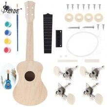 21 дюймов Гавайские гитары укулеле DIY Kit липа сопрано Гавайи Гитара картина ручной работы с высокого класса конфигурации