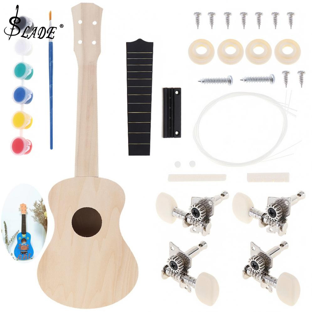 21 Inch Ukulele DIY Kit Basswood Soprano Hawaii Guitar Handwork Painting With High-end Configuration