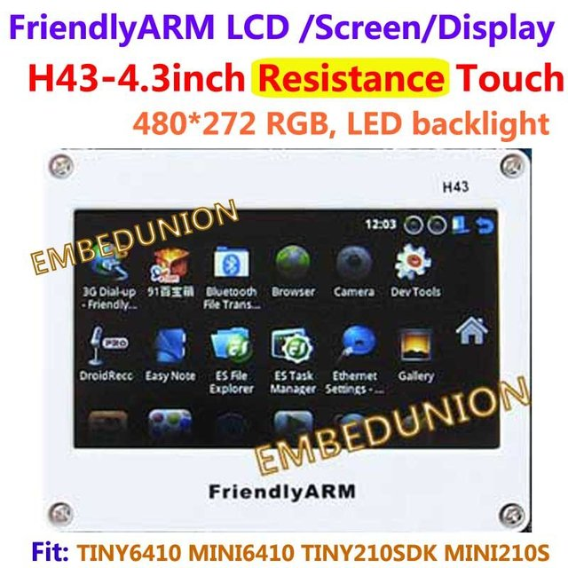 Free shipping , FriendlyARM H43 , 4.3inch Touch Screen Resistance Touch Display , For TINY6410 MINI6410 TINY210 MINI210S