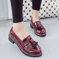 Women Loafers Shoes British Retro Tassels PU Soft Patent Leather Flats Shallow Mouth Round Toe Vintage Slip-on Casual Shoes