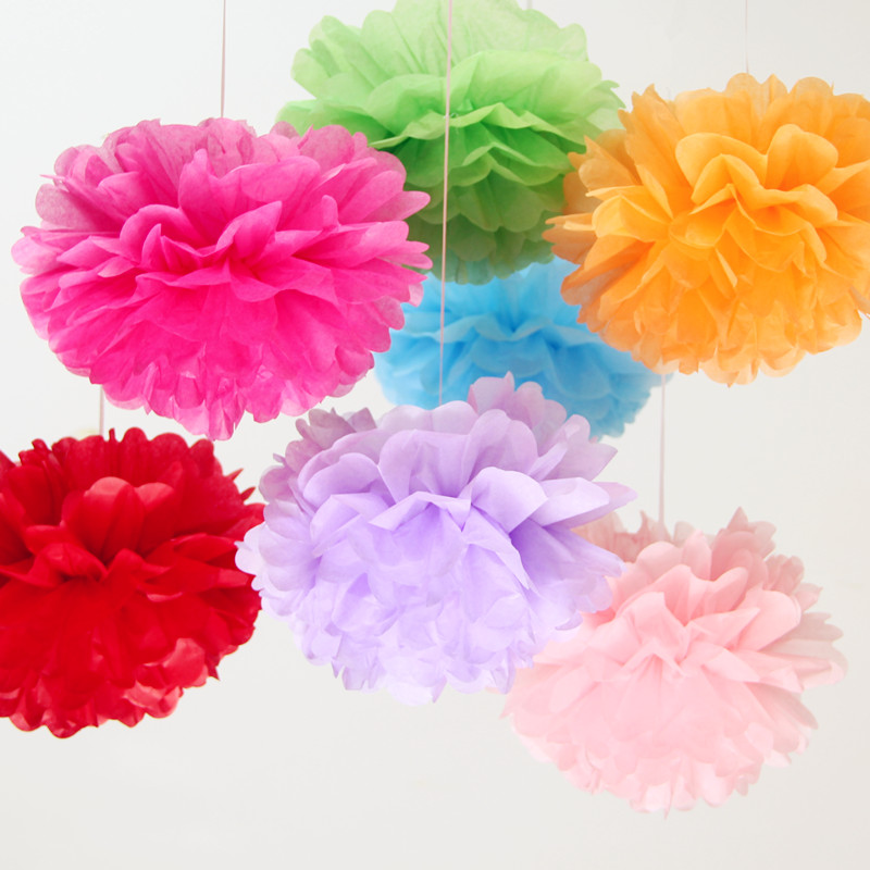 Diy multi colour 10inches 25cm 50pcs paper flowers ball wedding new diy multi colour 10inches 25cm 50pcs paper flowers ball wedding new homes birthday party car decoration tissue paper pom poms in artificial dried flowers mightylinksfo