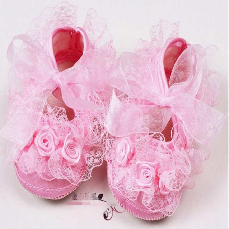 First Walkers Sneakers Newborn Baby Toddler Baby Girl Shoes Non-Slip Newborn Shoe Lace Flowers Princess Shoes First Walkers