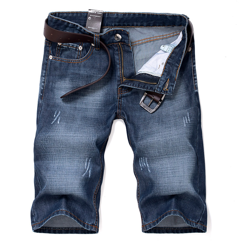 Men Blue Denim Shorts Stretch Short   Jeans   High Quality New Men Summer Cotton Casual   Jean   Shorts Straight Denim Shorts Size 40