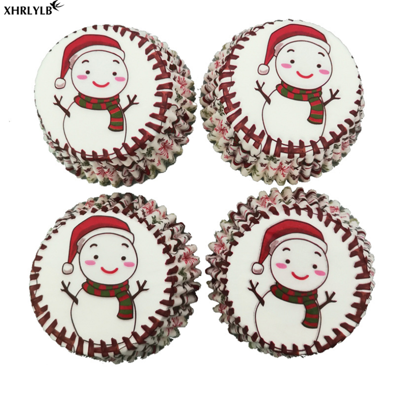 XHRLYLB Hot 100pc Christmas Snowman Cake Muffin Cup Christmas Decoration Party Supplies Baking Accessories Cake Decorating.7z