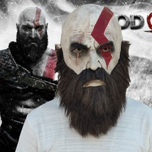 Купить с кэшбэком Game God Of War 4 Mask with Beard Cosplay Kratos Horror Latex Masks Helmet Halloween Scary Party Props New 2018 DropShipping
