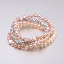 2018 High Quality 6-7 mm Freshwater Irregular Pearl Bracelets Natural Bracelet for Women