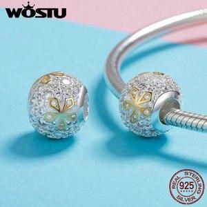 Image 2 - WOSTU חדש הגעה 925 סטרלינג כסף בהיר זהב צבע פרח חרוזים Fit קסם צמיד תליון אופנה רומנטי תכשיטי CQC978