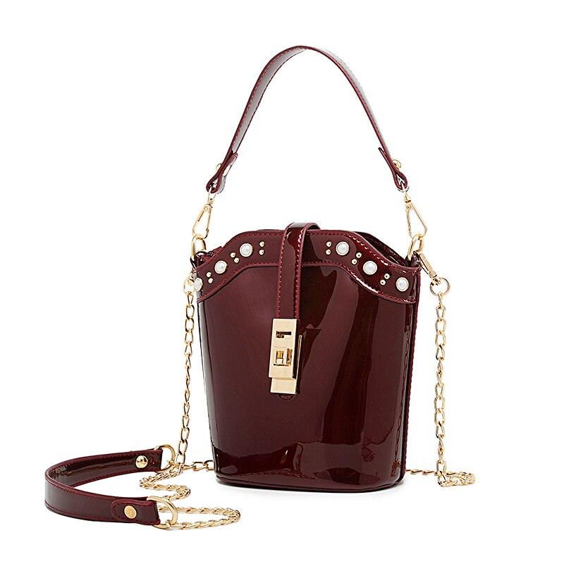 Beaocly Patent Leather Women Bucket Bag Vintage Messenger Bag Shoulder Bag Crossbody Bag For Women Tote