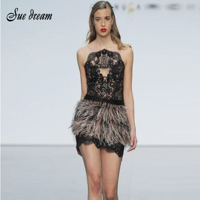 2018 Spring New Women Dress Black Strapless Sleeveless Club Celebrity Party  Dresses Sexy Bodycon Feather Sequined Dress Vestidos 50946574c932