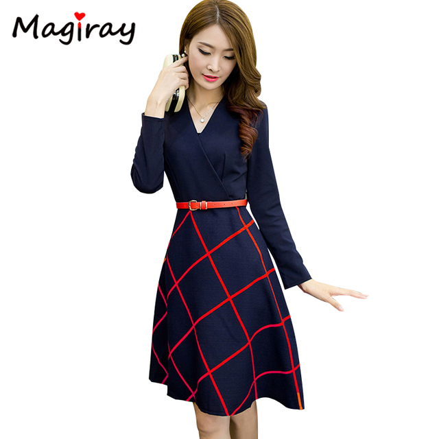8dcd2e2cfb Magiray Harajuku Autumn Winter Dress Women 2019 Long Sleeve V Neck A Line  Belt Midi Dress Elegant Plaid Vestidos Robe Femme C326