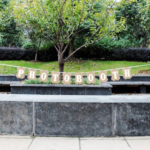 """Винтаж """"фотобудка"""" буквенные флаги Свадебные гирлянды баннер для фотокабинки вечерние реквизит для фотосъемки украшения события поставки - Цвет: Brown"""