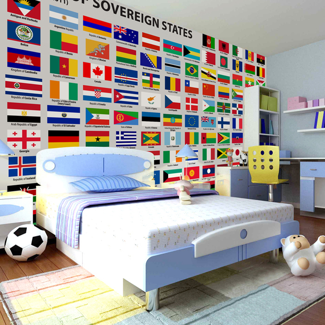 A large children's room photo mural cartoon world flags wallpaper modern personalized custom wallpaper background wall