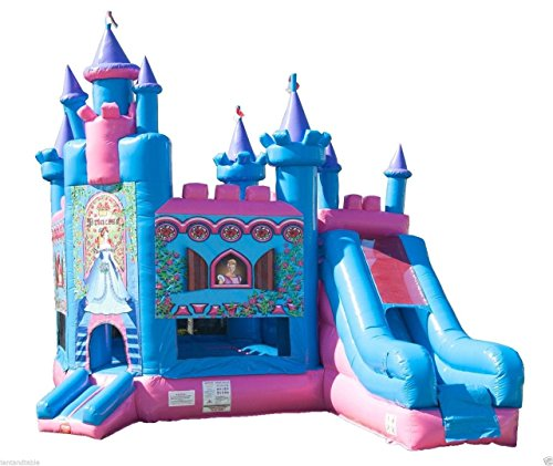 Princess castle blue and pink colourful inflatable toys of bouncy and slide guangzhou funny princess castle jumper inflatable princess bouncy castle princess style bed