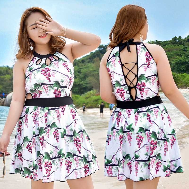 Plus Size Summer Beach Shorts Swim Wear Women 2017 Newest Sexy Floral High Neck Swimsuit Female 3XL-6XL Bandage Bathing Suits women s floral embroidery denim shorts 2017 summer fashion hight waist short jeans femme cotton shorts plus size xl e984