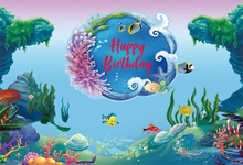 Laeacco Cartoon Underwater Coral Baby Happy Birthday Photographic Backgrounds Customized Photography Backdrops For Photo Studio