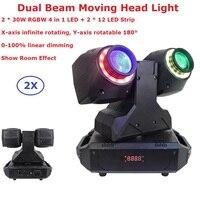 Neueste 2X30W RGBW Quad Farbe LED Moving Head Strahl Lichter 2X12Pcs LED Streifen 0 -100% Linear Dimmer Für Weihnachten Urlaub Dekorationen