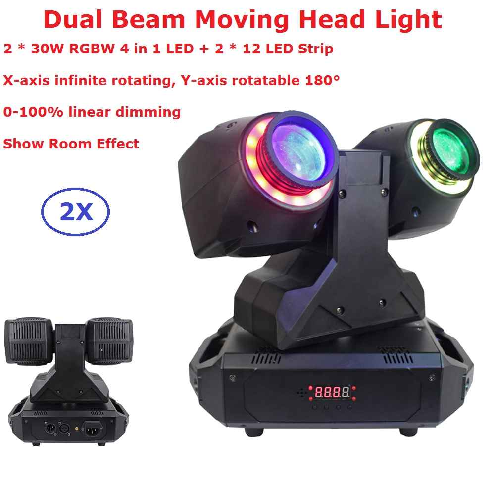 Newest 2X30W RGBW Quad Color LED Moving Head Beam Lights 2X12Pcs LED Strips 0-100% Linear Dimmer For Xmas Holiday Decorations