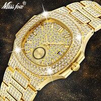 Для мужчин s часы лучший бренд класса люкс missfox новый тренд 18 К золото мужские часы, хронограф водостойкий большой Hublo сталь полный алмазов ча