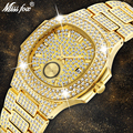 Herren Uhren Top Brand Luxus MISSFOX NEUE Trend 18 K Gold Uhr Männer Chronograph Wasserdichte Große Hublo Stahl Voller Diamanten uhr