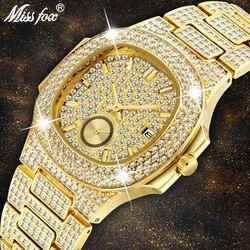 Mens Orologi Top Brand di Lusso MISSFOX NEW Trend 18 K Oro Orologio Da Uomo Cronografo Impermeabile Grande Hublo Acciaio Pieno di Diamanti orologio