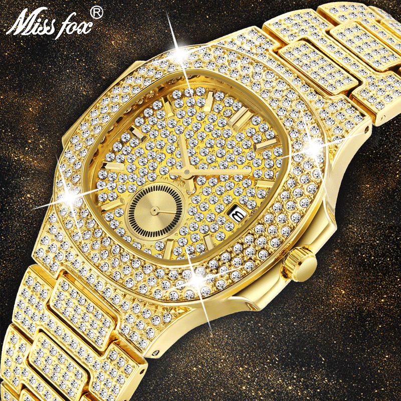 Mens Watches Top Brand Luxury MISSFOX NEW Trending 18K Gold Watch Men Chronograph Waterproof Big Hublo Steel Full Diamond Watch