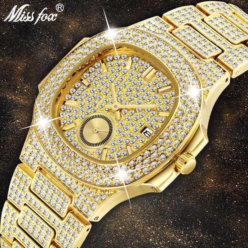 Montres hommes Top marque de luxe MISSFOX nouvelle tendance 18 K montre en or hommes chronographe étanche grande Hublo acier montre pleine diamant