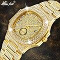 Relojes para hombre marca superior de lujo MISSFOX nuevo reloj de oro 18 K reloj de hombre cronógrafo resistente al agua gran Hublo de acero diamante completo ver