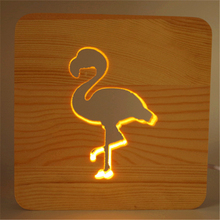 Animal Shape 3d Led Night Light Desk Lights Wooden Night Lamp Room Atmosphere Decoration For Baby Gift