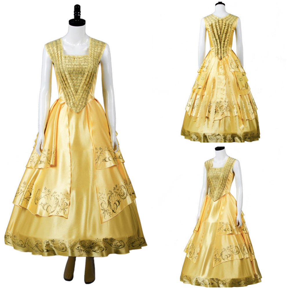 Adult Beauty and the Beast 2017 Movie Belle Emma Cosplay Costume Yellow Gown Dress For Halloween Carnival Costumes