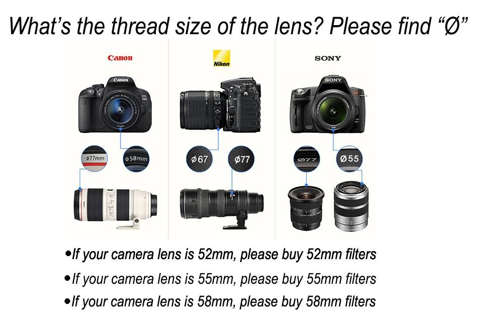 K&F CONCEPT UV+CPL+FLD+ND4 Neutral Density Camera Lens Filter Kit+Bag+Lens Hood Cap+Cleaning Cloth For Canon/Nikon/Sony DSLR 20