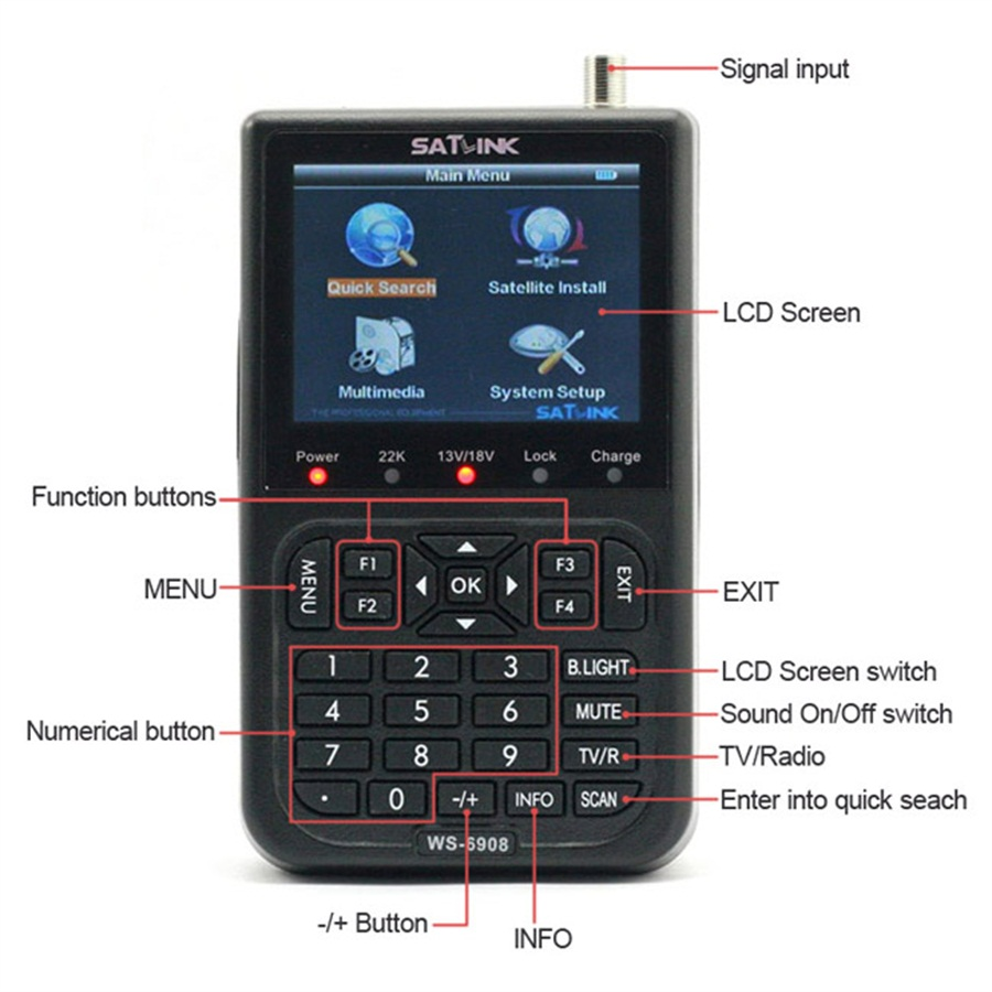 Original Satlink WS-6908 3.5 LCD DVB-S FTA Digital Satellite Signal ws 6908 satellite Finder Meter free shipping satlink ws 6906 3 5 lcd dvb s fta data digital satellite signal finder meter