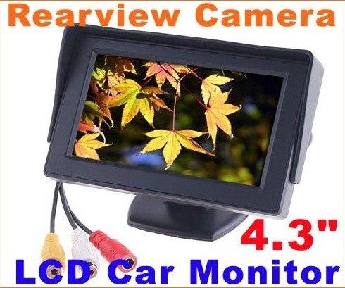 Super pas cher et Rétroviseur de Voiture Moniteur 4.3 couleur LCD Rétroviseur De Voiture pour Appareil Photo DVD MAGNÉTOSCOPE De Voiture moniteur De Voiture vidéo livraison gratuite