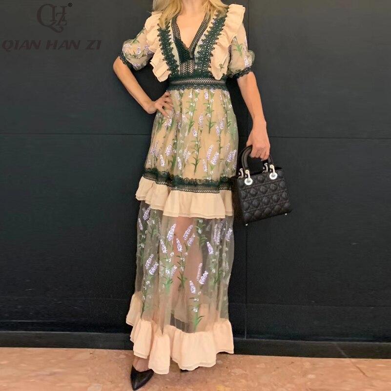 Qian Han Zi Designer Long Dress Women's Half Sleeve Mesh High Quality Embroidered V-neck Ruffled Lace Vintage Elegant Maxi Dress